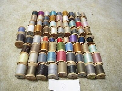 Wooden Spool thread lot of 74 sewing crafts D large and small