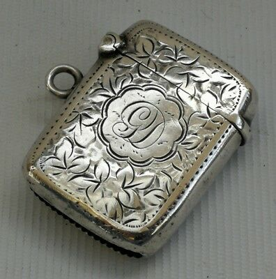 Vintage 1911 G F Wall Solid Silver Foliate Vesta Match Case Box Striker