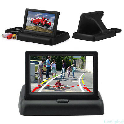 """4.3"""" LCD Foldable Color Monitor Screen Fits Car Backup Reverse Rearview Camera"""