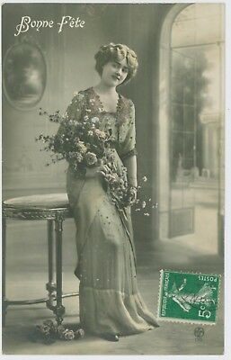 Beautiful young lady / girl portrait postcard, early 1900's