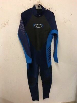 Size M Blue/Black Zip Fastening Full Length One Piece Wetsuit By TWF