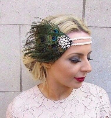Green Ivory Peacock Feather Headpiece 1920s Headband Flapper Fascinator Vtg 4238