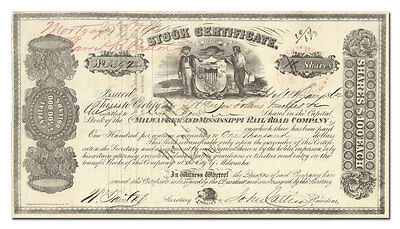 Milwaukee and Mississippi Rail Road Company Stock Certificate (1860's)