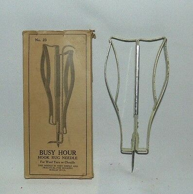 Busy Hour Hook Rug Needle Antique Tool