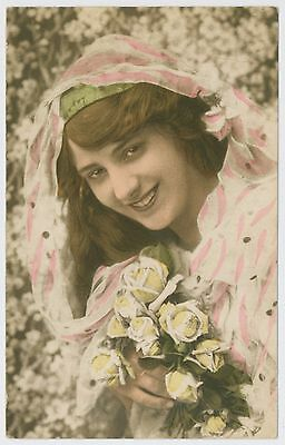 Pretty young lady / girl postcard, 1923 Southend on Sea postmark
