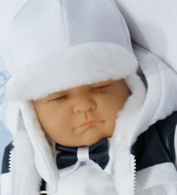 Baby Boys White Winter Hat Christening Special Occasion 0-18 M