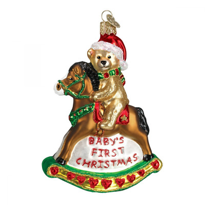 Old World Christmas Rocking Horse Teddy Glass Blown Ornament