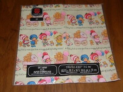 Vintage Strawberry Shortcake baby Girl Wrapping Paper - Showers - New - Carlton