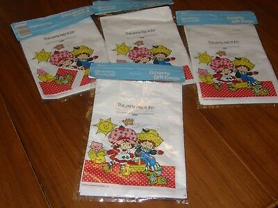 Vintage Strawberry Shortcake Party Gift Loot Bags  4 pkgs - NEW