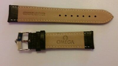 Omega<->Genuine 20Mm -Leather-Watch-Strap-Black-Stainless-Steel-Buckle