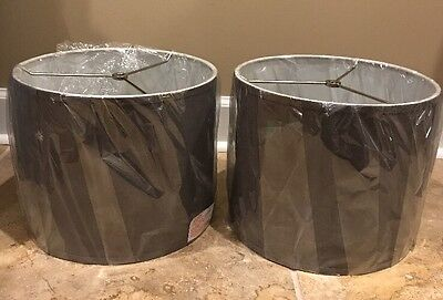 NEW 2PC Pottery Barn Teen Cooper Table Lamp Shade CHARCOAL GRAY **Minor Dings**