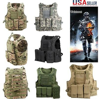 Tactical Vest Military Enhanced Carrier Woodland Hunting Fighting Camo Army US