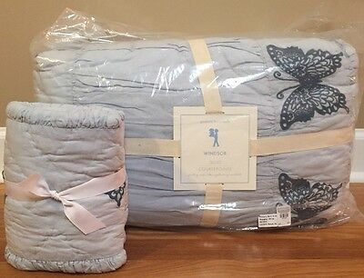 NEW Pottery Barn Kids Windsor Butterfly FULL QUEEN Quilt + Sham BLUE TEAL