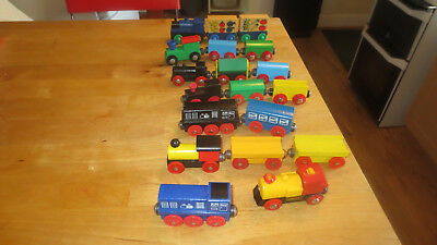 Wooden Trains Brio, Elc, Tesco? Mixed Job Lot With Yellow Battery Train