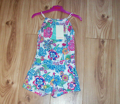 NEW GIRLS MONSOON TOWELLING PLAYSUIT AGE 3-4, Tropical Floral Beach all in one