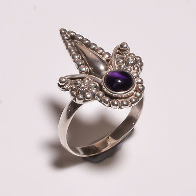 925 Solid Sterling Solid Silver Ring With Amethyst (IHG)