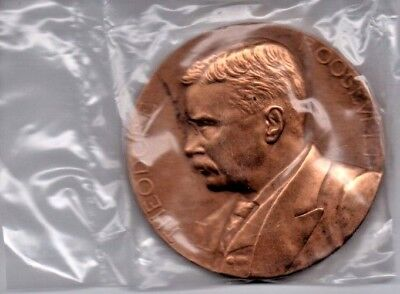 "President Theodore Roosevelt  Us Mint 3"" Bronze Medal  In Mint Box #125"