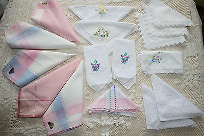 Selection 16 Vintage Ladies Hankies Lace Trimmed Embroidered Etc.