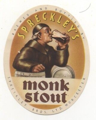 OLD BEER LABEL / S  - UK -  SPRECKLEY - (C)  - 78mm TALL