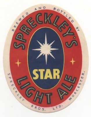 OLD BEER LABEL / S  - UK -  SPRECKLEY - (D)  - 78mm TALL