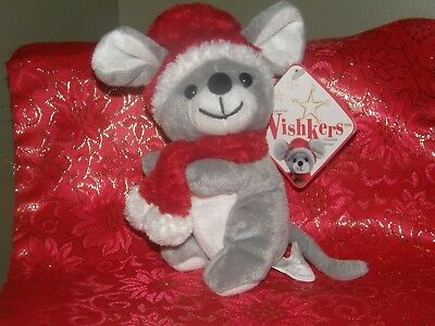 2001 Wishkers Mouse Sears  Christmas Charity Bean Plush / Tags