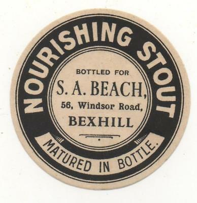 OLD BEER LABEL / S  - UK -  BEACH - BEXHILL- 62mm TALL