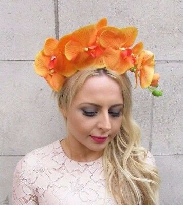 Large Orange Orchid Flower Fascinator Headpiece Races Hair Vtg Headband 4248
