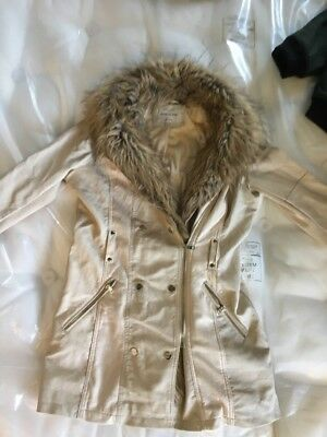 River Island Leather Suede & FAUX Fur Jacket Size 12