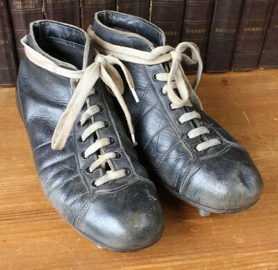 Vintage Rugby Boots. Old Black Leather Metal Stud Cleats