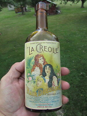 La CREOLE Hair DRESSING Van VLEET - Mansfield Drug - SUPER GRAPHICS On Label !!!