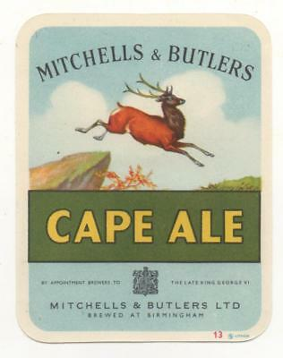 OLD BEER LABEL / S  - UK -  MITCHELLS & BUTLER   - (F) - approx, 79mm TALL