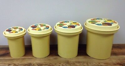 4 Vintage Rubbermaid Nesting HARD Plastic Gold Canisters Mushroom Lid 70's Retro