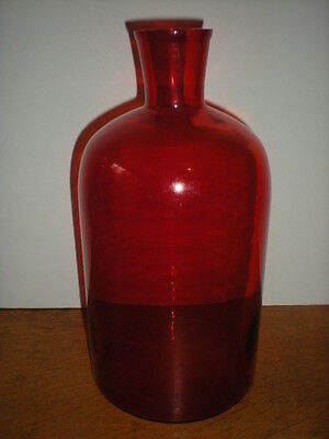 Apothecary Bottle Red Cranberry Glass Large Antique Tapered neck