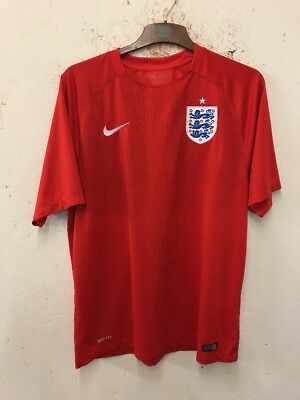 Size XL Red Striped Short Sleeve England Home Shirt By Nike