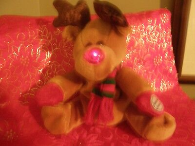 1999 TWINKLES  Reindeer Light Up Nose  Christmas Sears Charity Bean Plush WORKS