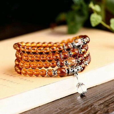 6mm Stone Buddhist Citrine 108 Prayer Beads Mala Bracelet / Necklace DAJ9072-6