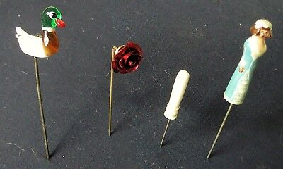 FOUR LACEMAKERS DIVIDER PINS,  GLASS DUCK,  METAL ROSE, DOLL etc.