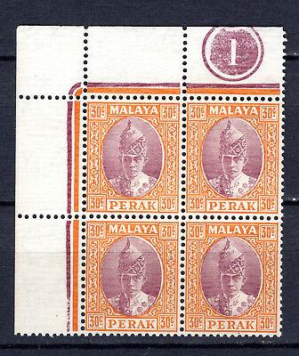 MALAYA STRAITS SETTLEMENTS 1938 PERAK 30c IN PLATE BLOCK OF 4 MNH STAMPS UN/MM