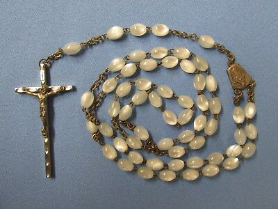"""Vintage Large Women's 25"""" Rosary w/ Smooth Pearlescent White Beads Lot Q"""