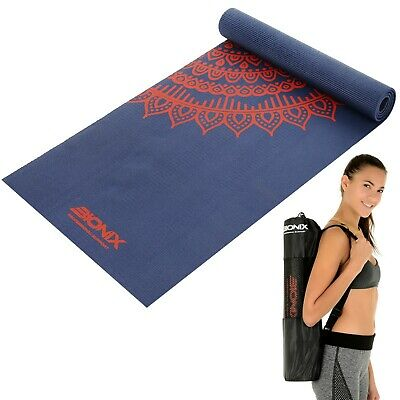 Yoga Mat 6mm Printed Non Slip Thick And Carry Bag Strap Home Pilates Exercise
