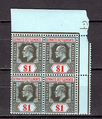 Malaya Straits Settlements 1906 Kevii $1.00 (Mca) In Block Of 4 Mnh Stamps Un/mm