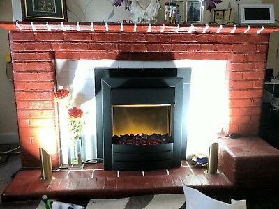 Adam 2000W flame effect electric fan assisted fireplace in black