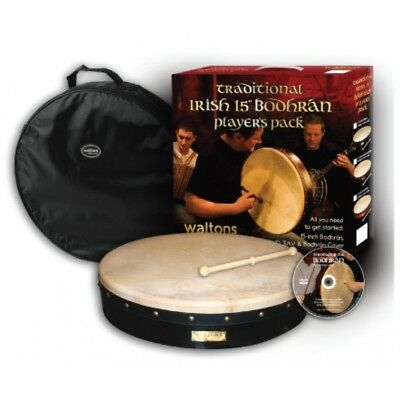 "Waltons 15"" 18"" Bodhran Plain Pack Beater DVD Classic Beginner Gift Box"