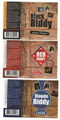 Beer Label / S - Uk  -  Black Biddy , Red And Blonde