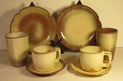 Frankoma Pottery Plainsman Gold Luncheon Place Setting (8 Total Pieces)