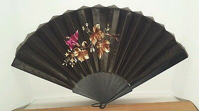 Antique Vintage Large Black Silk with Floral Embroidery Hand Fan