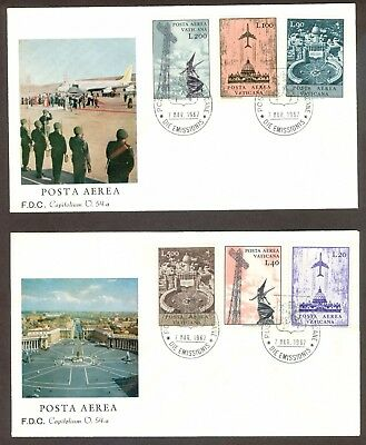 Vatican City Sc# C47-52, Regular Issue Airmails on 2 First Day Covers