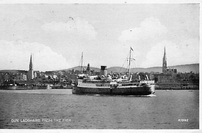 Old Valentines Postcard 1948 - Dun Laoghaire - Ferry From The Pier
