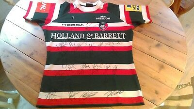 Leicester Tigers 2017 autographed signed shirt XXL
