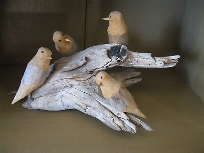 Ben Ortega Woodcarver 4 Wood Birds on Natural Driftwood Hand Carved